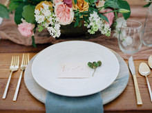 Romantic spring wedding place setting