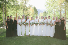 White and black bridesmaid dresses