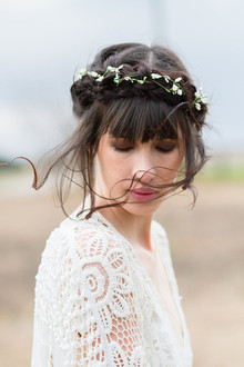 Floral braided hairstyle