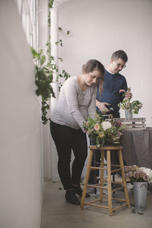 Floral studio maternity photos