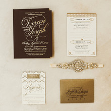 Gold and Black glam wedding invitations