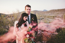 Smoke bomb wedding portraits
