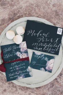Dark floral wedding invitations