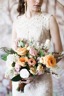 Blush and yellow bridal bouquet