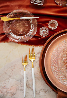 Orange and gold place setting