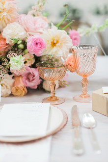 Peachy pink wedding decor