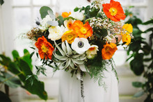 Orange poppy bouquet