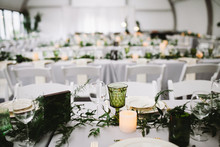 Green and white wedding decor