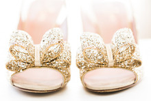 Gold sequince wedding shoes