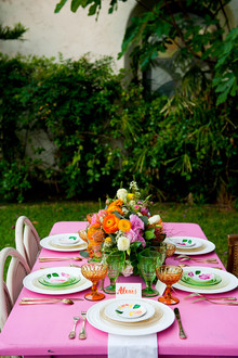 Colorful spring tablescape