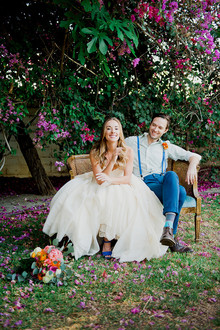 Backyard wedding portraits