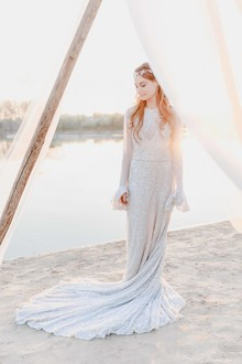 Silver beaded wedding dress