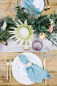 Rose quartz + serenity color wedding
