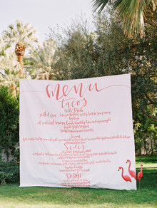 large scale menu for wedding