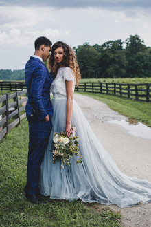 romantic blue wedding dress