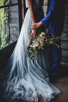 hand dyed blue wedding dress