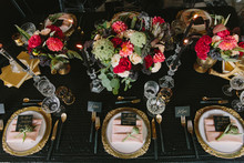 black wedding tablescape