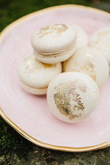 gold leafed macarons
