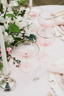 blush and gold stemware