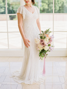 white art deco sequin wedding dress