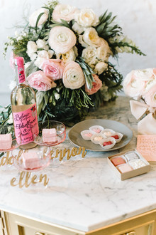 pink and grey dessert table