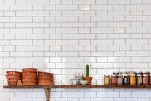 subway tile and open shelving