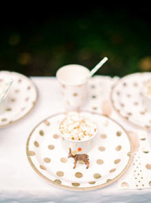 gold polka dot party ware