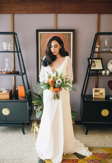 Mid century modern home wedding