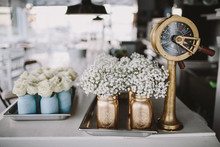 Gold mason jar decor