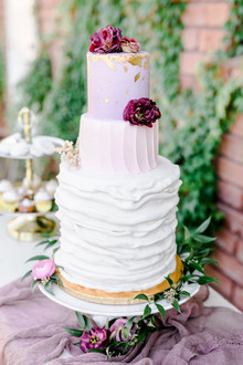 Gold leafed wedding cake