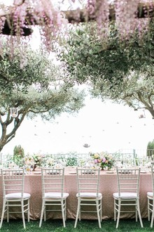 Garden wedding reception table