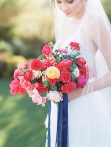 Red + navy bridal bouquet