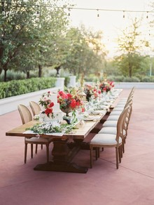 Romantic pink and red tablescape