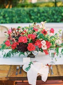 Red and pink floral centerpiece