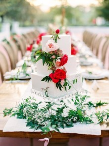 Red and green wedding cake