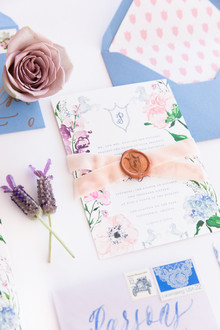 Pink and blue wedding invites