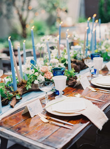 Blue wedding candles