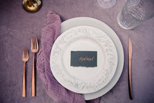 Purple place setting
