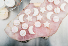 pink moon and stars cookies