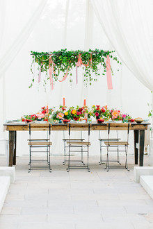 Colorful bridal shower table