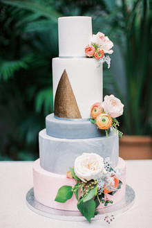 Modern pink and gold wedding cake