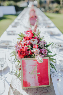 Gold and pink table number