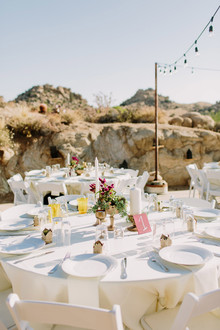 White reception tables