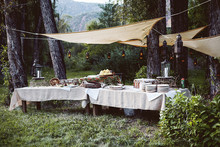 Outdoor food tables