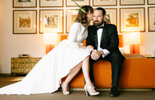 Mid-century inspired wedding portrait