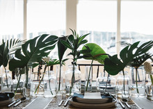 Monstera leaf centerpiece