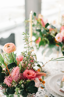 Coral wedding florals