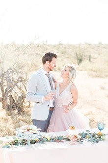 Pink wedding portrait