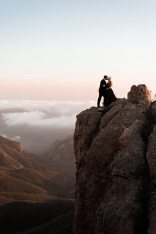 Mountaintop sunset engagement shoot