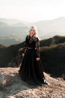 Black engagement shoot dress